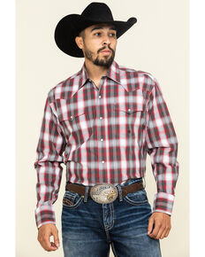 Roper Men's Amarillo Red Barn Plaid Long Sleeve Western Shirt, Red, hi-res