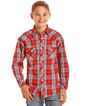 Rock & Roll Cowboy Boys' Red Satin Plaid Shirt , Red, hi-res