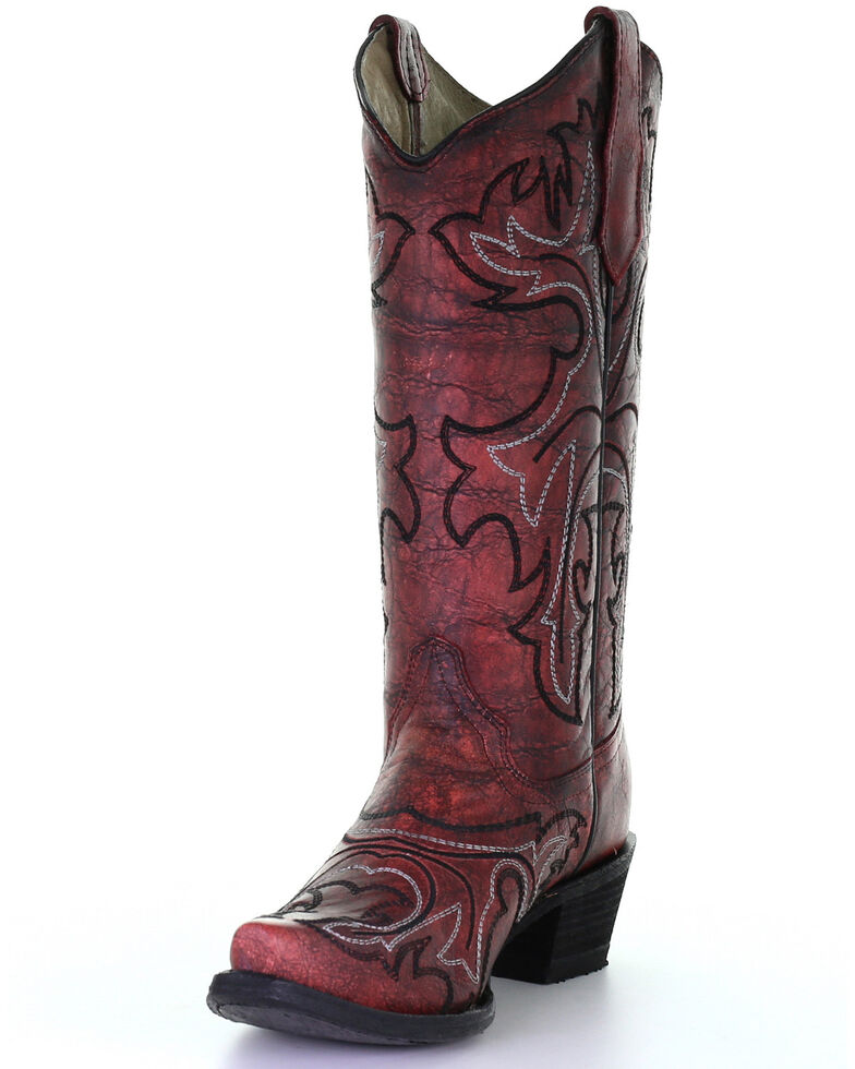 Corral Women's Red Embroidery Western Boots - Snip Toe, Red, hi-res