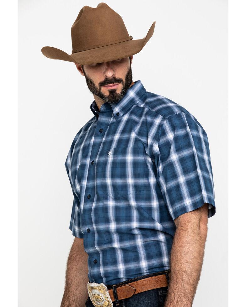 Ariat Men's Lakewood Large Plaid Short Sleeve Western Shirt , Dark Blue, hi-res