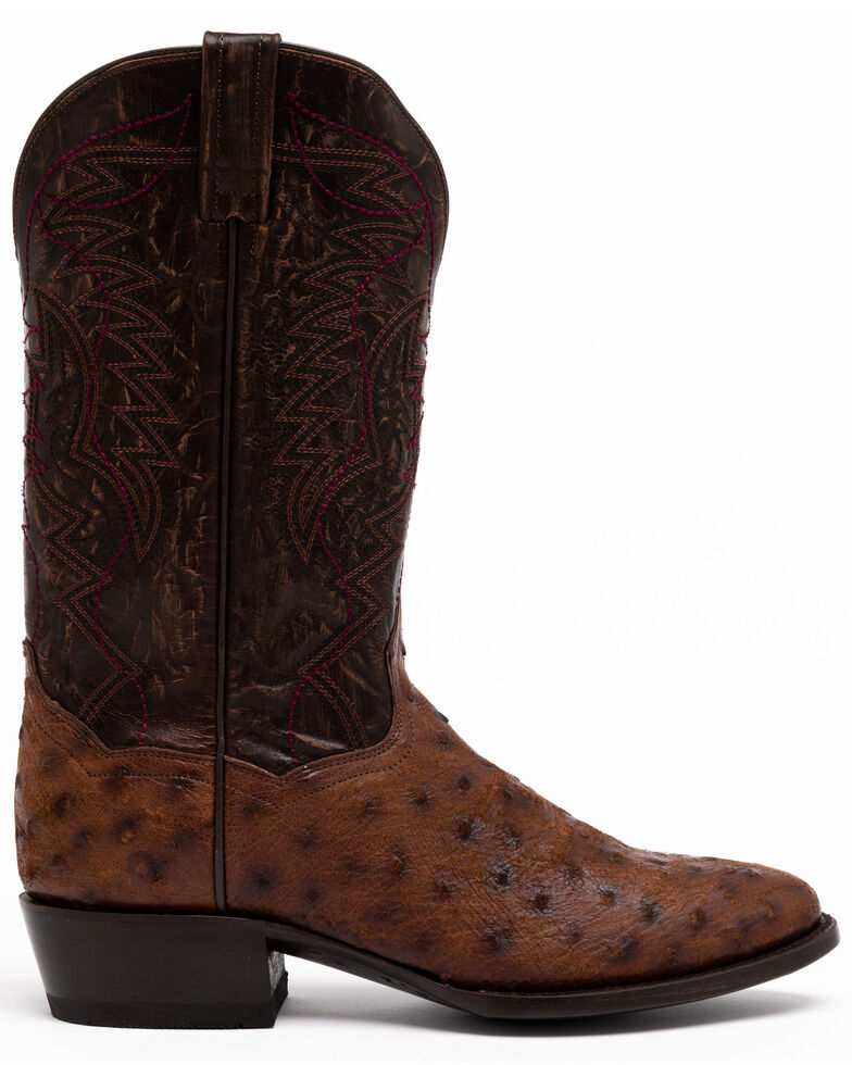 Dan Post Men's Nicotine Quilled Ostrich Western Boots - Round Toe, Brown, hi-res