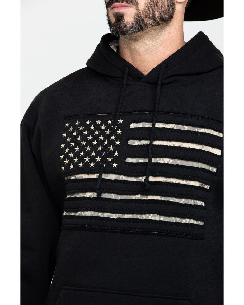 Buck Wear Men's Stars And Stripes Camo Flag Pullover Hoodie , Black, hi-res