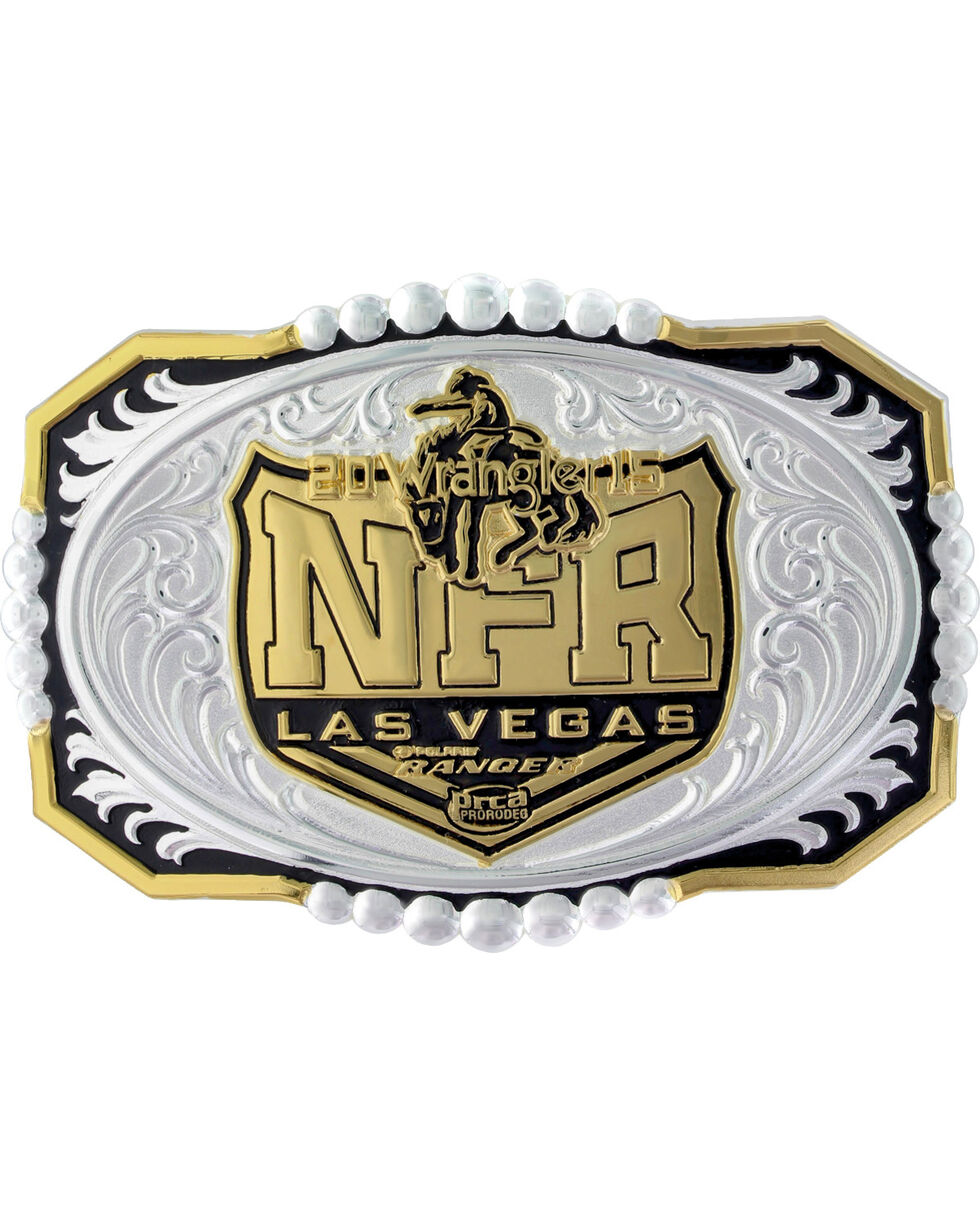 Montana Silversmiths 2015 WNFR Two-Tone Engraved Buckle, Silver, hi-res