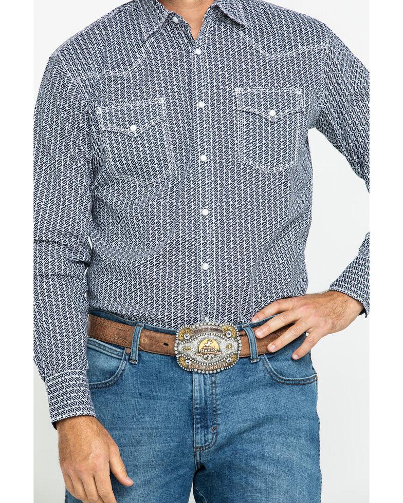 Wrangler 20X Men's Advanced Comfort Navy Geo Long Sleeve Western Shirt , White, hi-res