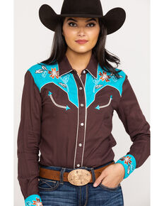 White Label by Panhandle Women's Brown Floral Embroidered Rodeo Shirt , Brown, hi-res