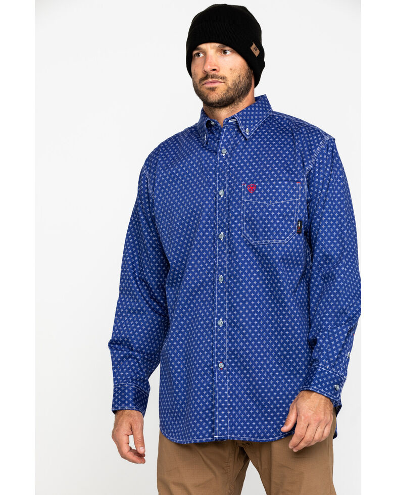 Ariat Men's FR Denali Geo Print Long Sleeve Work Shirt - Big , Blue, hi-res