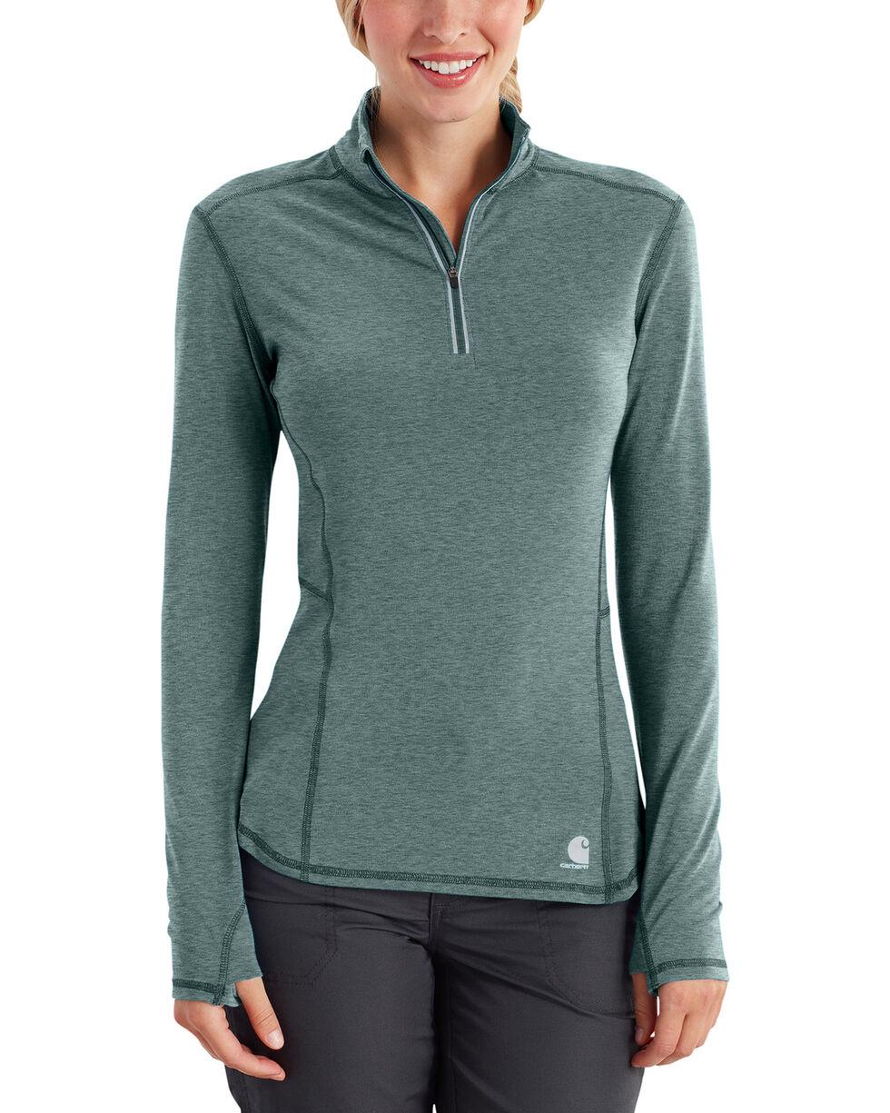 Carhartt Women's Force Ferndale Quarter Zip Shirt , Sage, hi-res