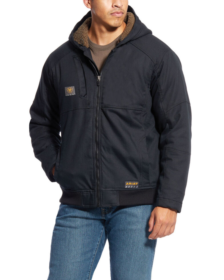 Ariat Men's Grey Rebar DuraCanvas Hooded Jacket - Tall, Black, hi-res