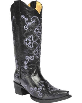 Circle G Women's Embroidered Western Boots, Black, hi-res
