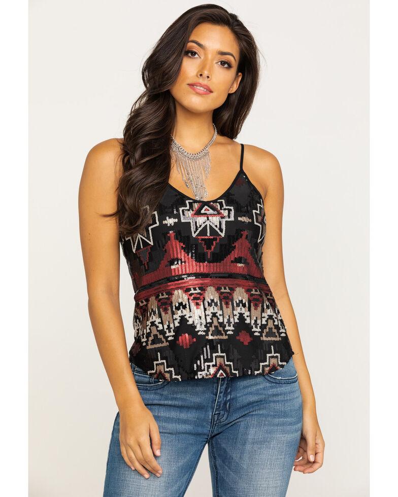 Shyanne Women's Aztec Sequin Cami , Black, hi-res
