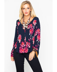 Shyanne Women's Floral Shirttail Hem Top , Dark Blue, hi-res