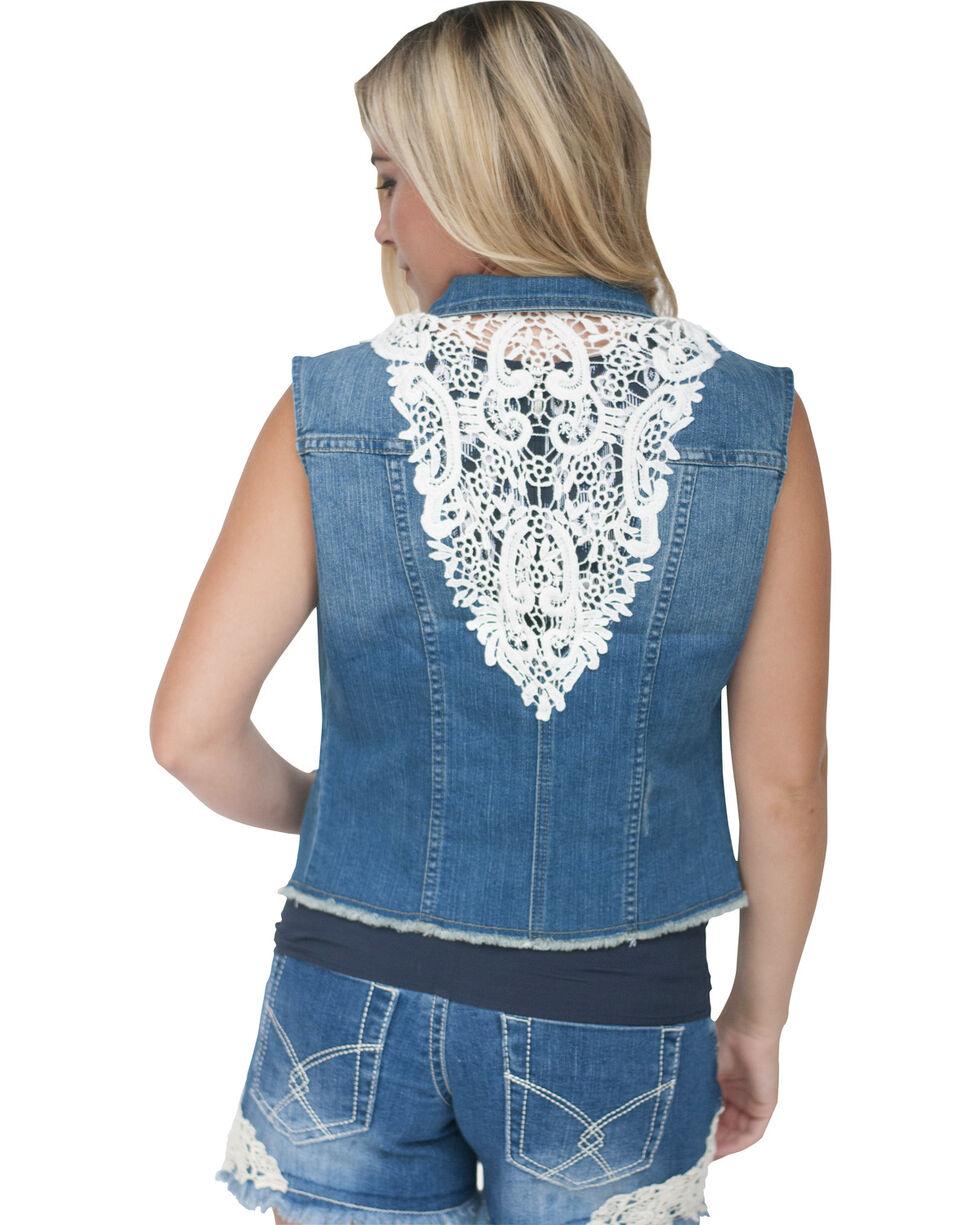 Petrol Women's Donna Lace Back Vest, Denim, hi-res