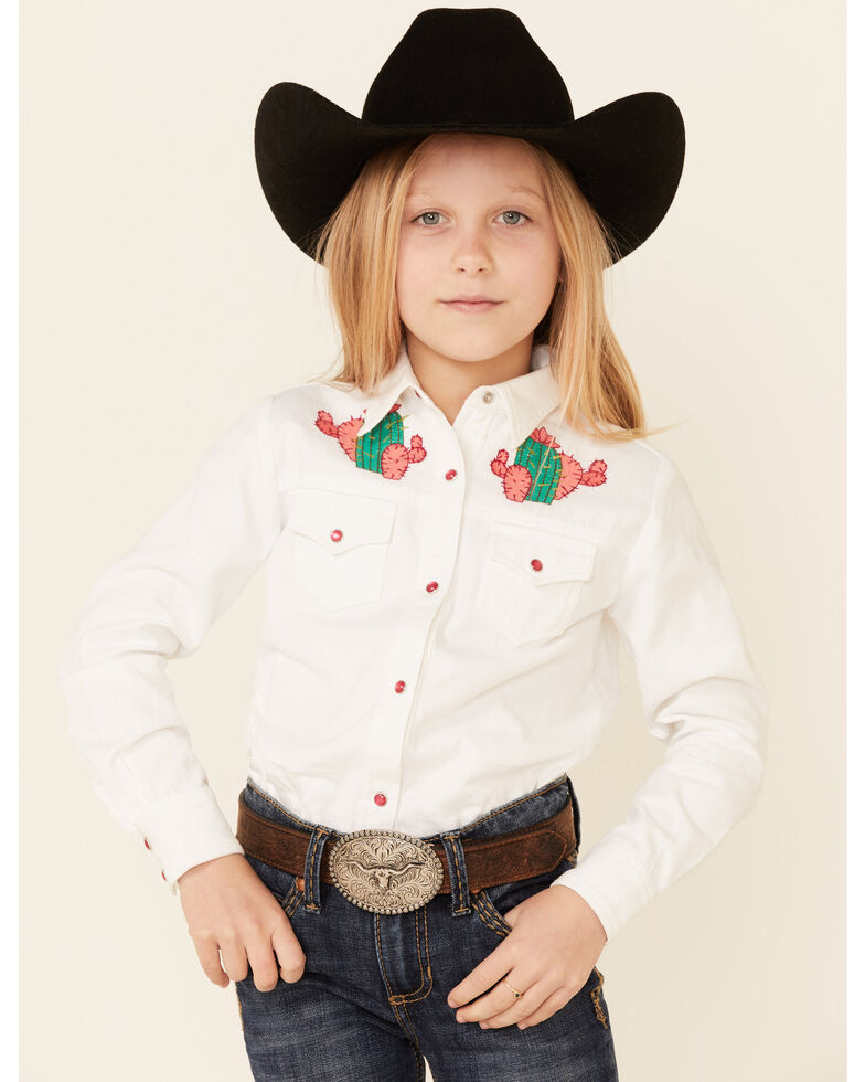 Roper Girls White Denim Embroidered Cactus Long Sleeve Snap Western Shirt , White, hi-res