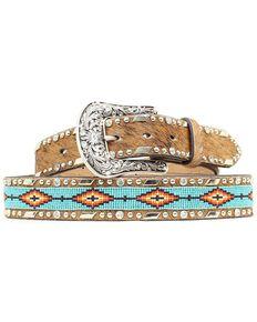 Ariat Women's Aztec Bead and Hair on Hide Belt, Brown, hi-res