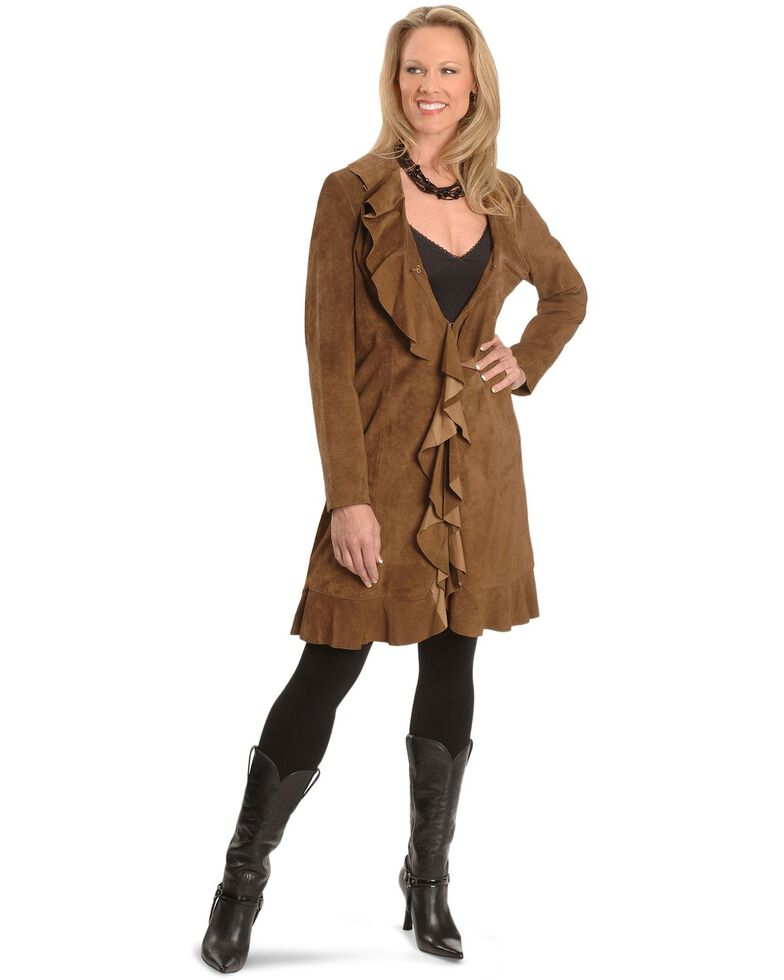 Scully Women's Ruffle Coat, Brown, hi-res