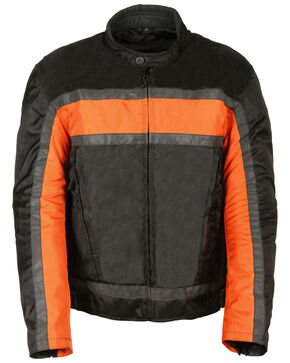 Milwaukee Leather Men's Reflective Stripe Racer Jacket - 3X, Black/orange, hi-res