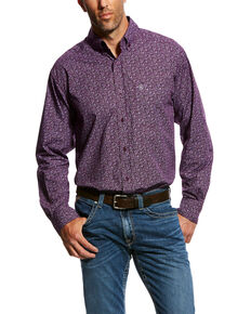 Ariat Men's Murdoch Floral Print Long Sleeve Western Shirt , Purple, hi-res