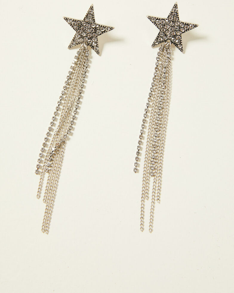 Idyllwind Women's Shooting Star Fringe Earrings, Silver, hi-res