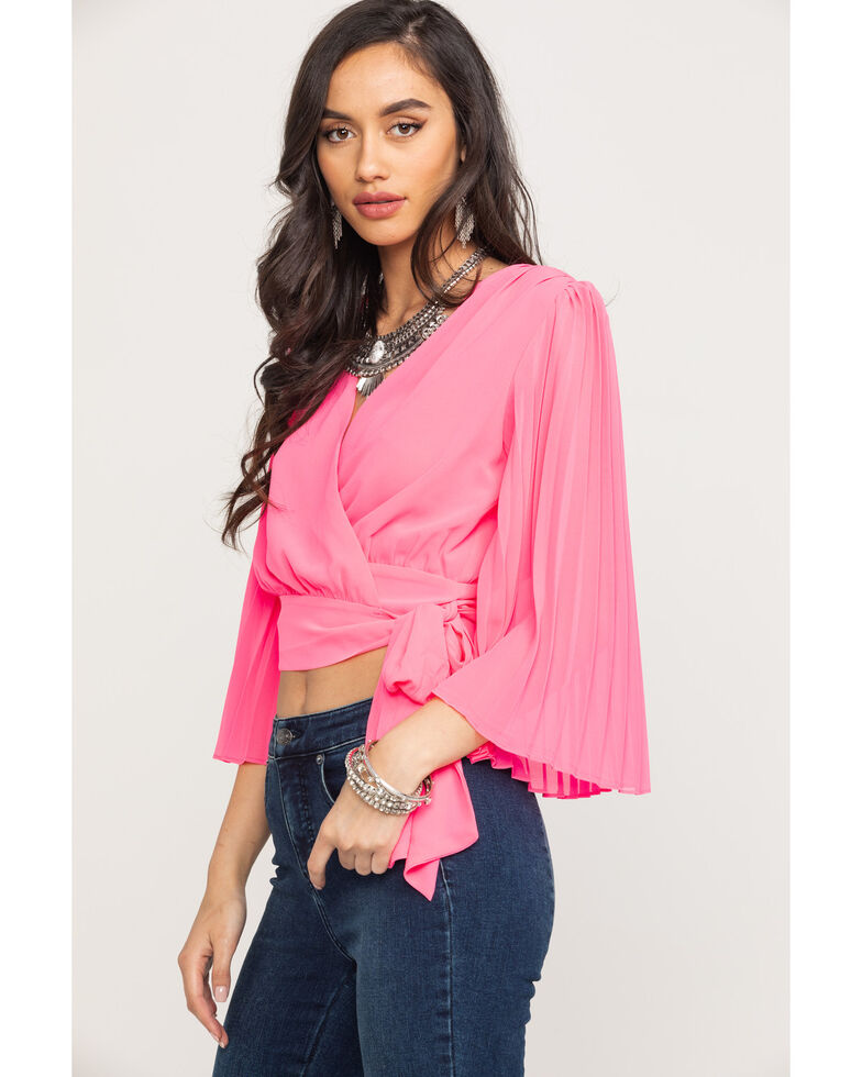 Flying Tomato Women's Pink Pleated Wrap Top, Pink, hi-res