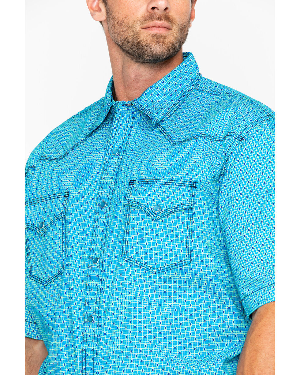 Wrangler 20X Men's Navy Competition Plaid Short Sleeve Western Shirt, Turquoise, hi-res