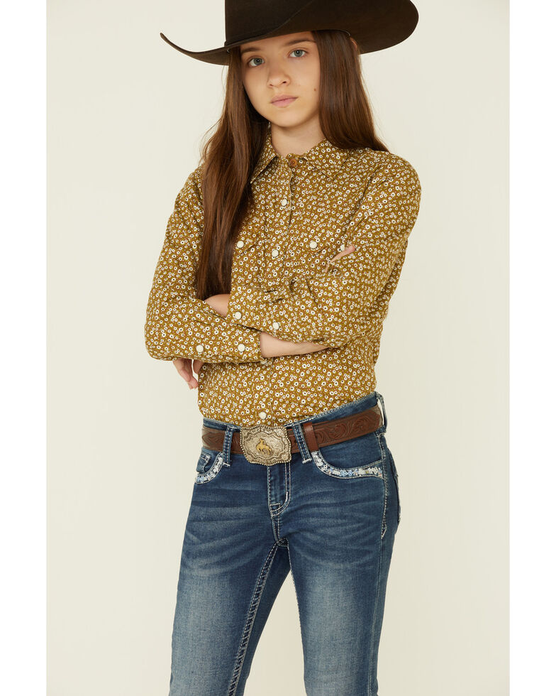 Ariat Girls' R.E.A.L Country Daisy Floral Print Long Sleeve Snap Western Shirt , Rust Copper, hi-res