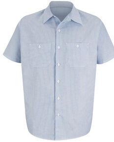 Red Kap Men's Industrial Striped Short Sleeve Work Shirt , Blue/white, hi-res