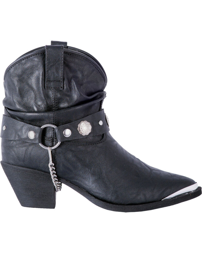 Dingo Women's Black Leather Concho Strap Slouch Booties - Pointed Toe, Black, hi-res