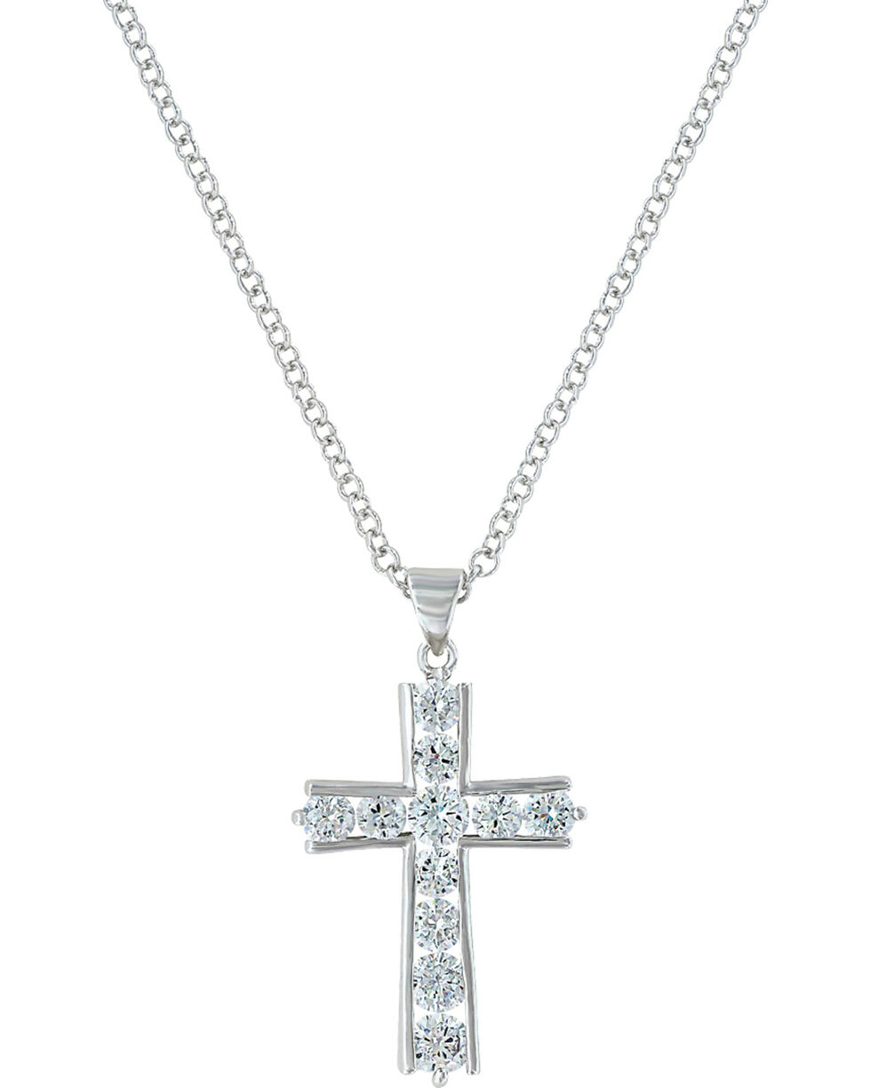 Montana Silversmiths Women's Round Brilliance Cross Necklace, Silver, hi-res