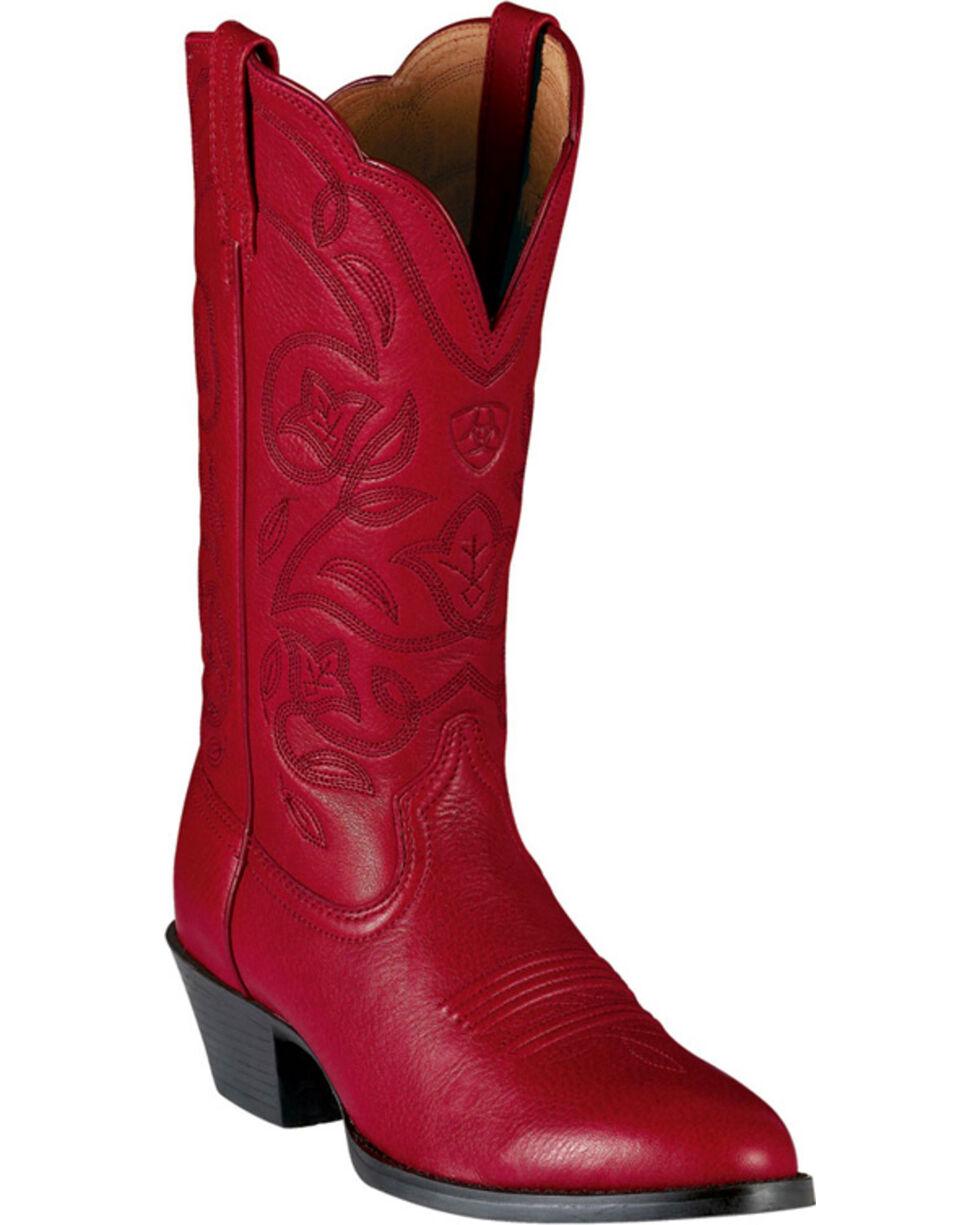 Ariat Western Deertan Cowboy Boots, Red, hi-res