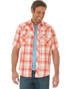 Wrangler Men's Orange Plaid Short Sleeve Western Shirt , Orange, hi-res