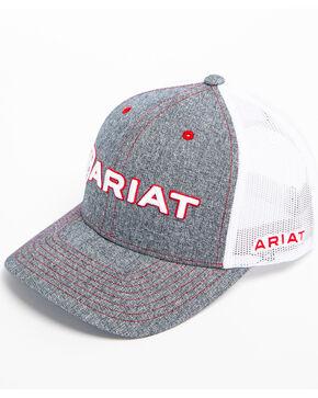 Ariat Men's Heather Grey Embroidered Logo Trucker Cap, Grey, hi-res