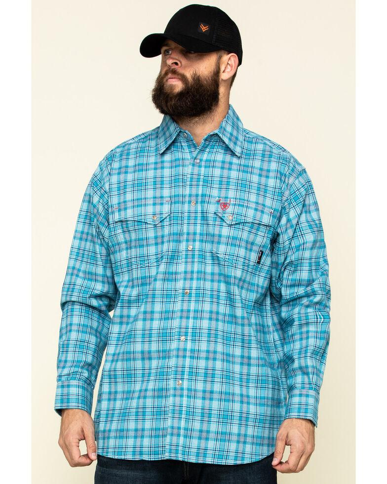 Ariat Men's FR Dallas Multi Plaid Long Sleeve Work Shirt , Blue, hi-res