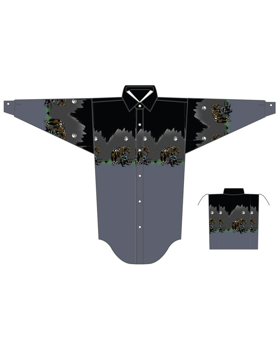 Panhandle Boys' Scenic Border Print Long Sleeve Western Shirt , Charcoal, hi-res