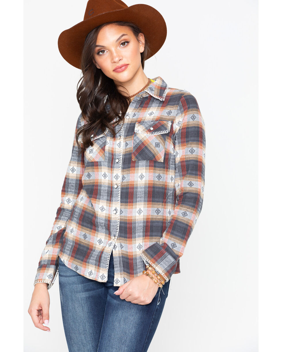 Ivory Love Women's Plaid Whip Stitch Western Shirt , Rust Copper, hi-res