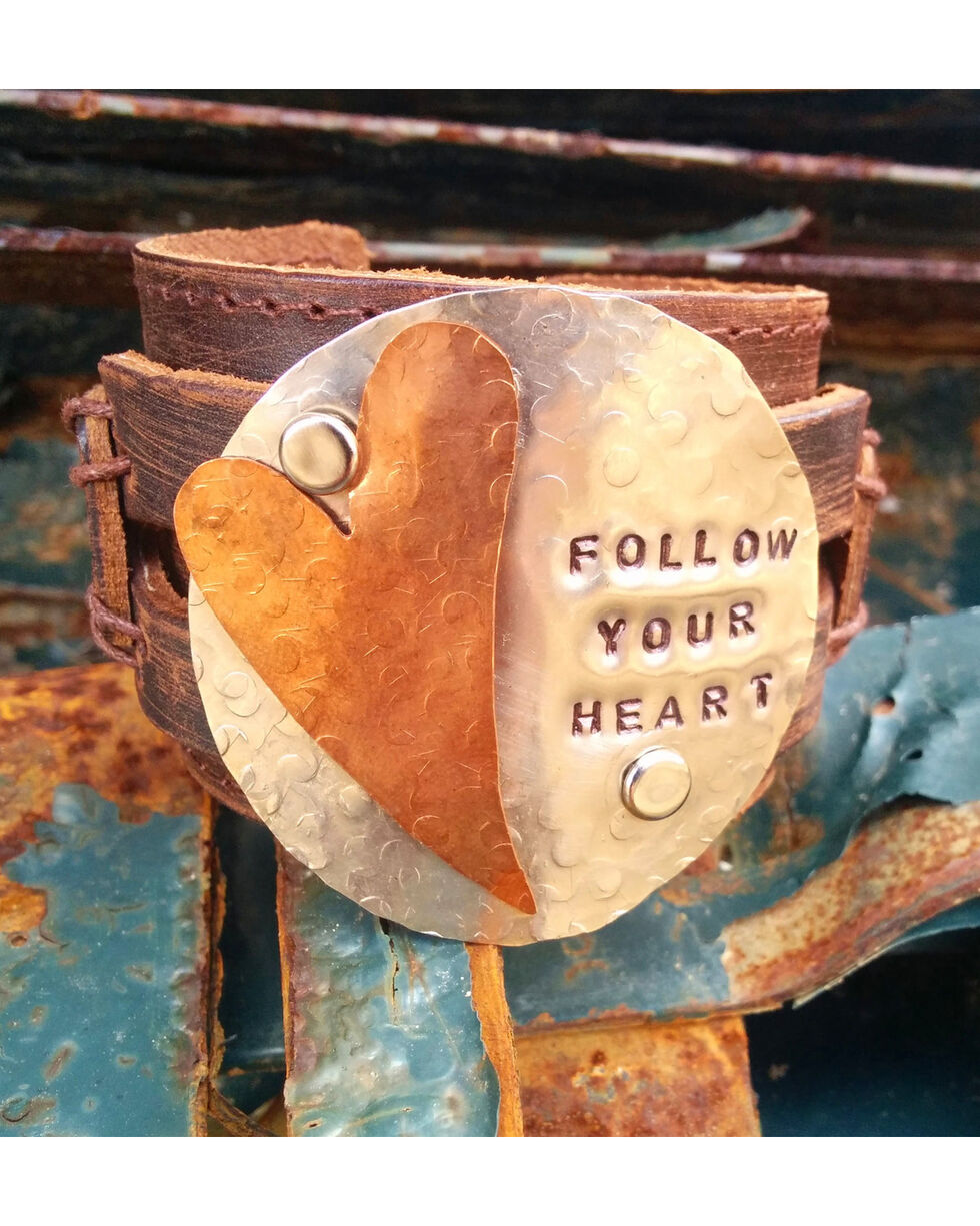 """Jewelry Junkie """"Follow Your Heart"""" Leather Stamped Cuff Bracelet, Black, hi-res"""