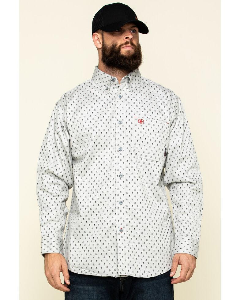Ariat Men's FR Calico Jack Geo Print Long Sleeve Work Shirt , Blue, hi-res
