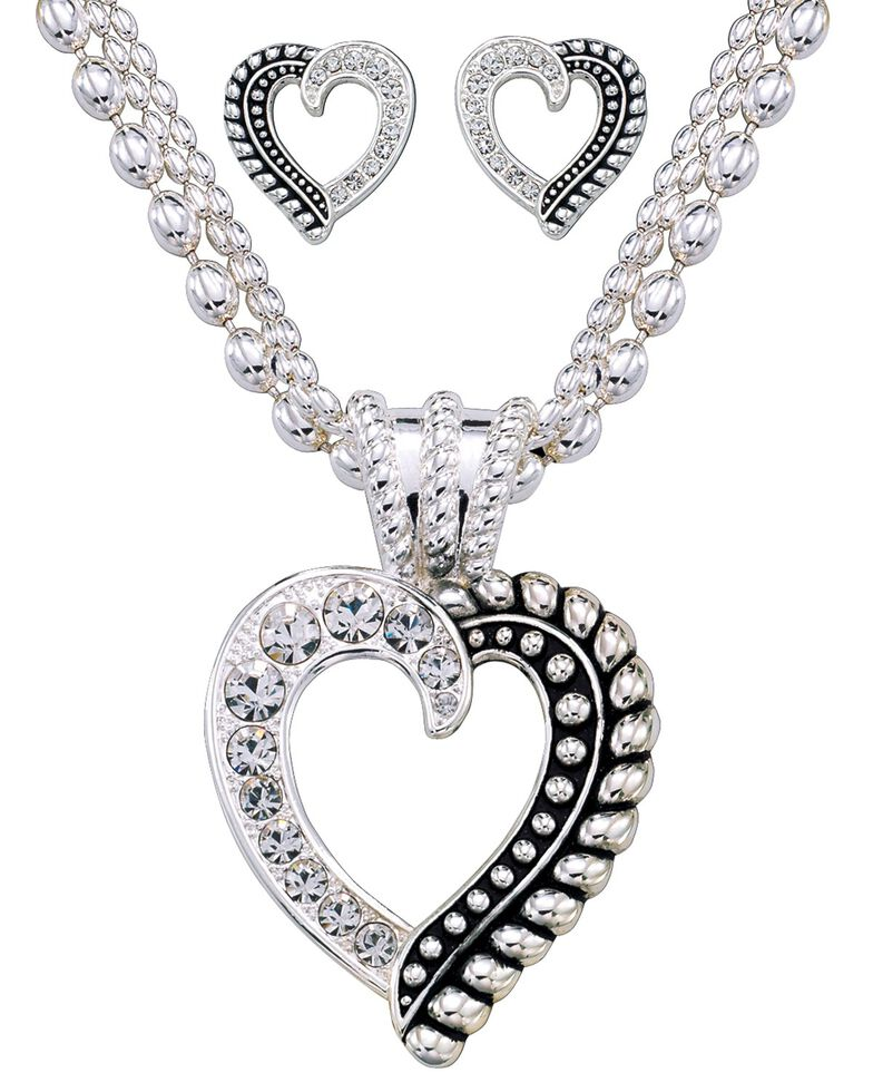 Montana Silversmiths Twisted Rope and Crystal Heart Jewelry Set, Silver, hi-res
