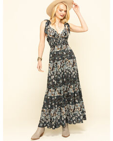 Free People Women's Let's Smock About it Maxi Dress, Black, hi-res