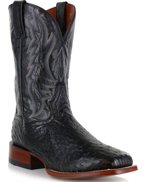 Dan Post Men's Ostrich Square Toe Exotic Boots, Black, hi-res