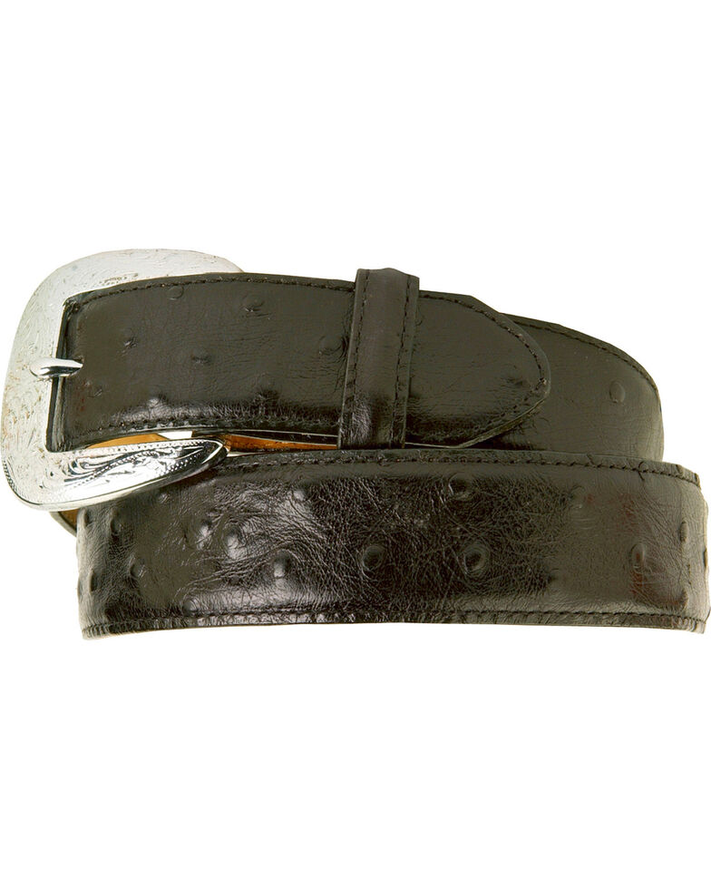 Tony Lama Men's Ostrich Embossed Leather Belt, Black, hi-res
