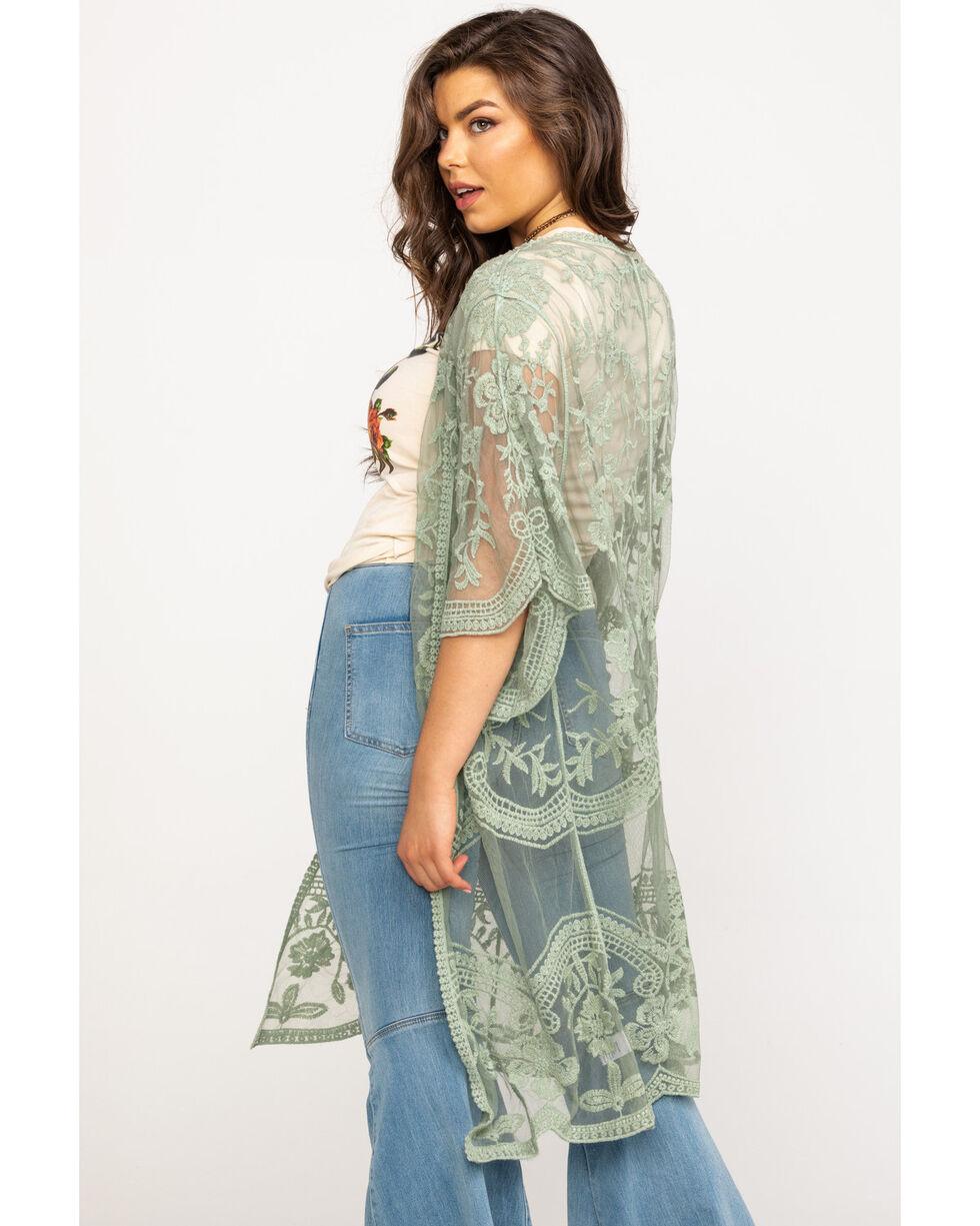 Polagram Women's Sage Lace Long Kimono, Sage, hi-res