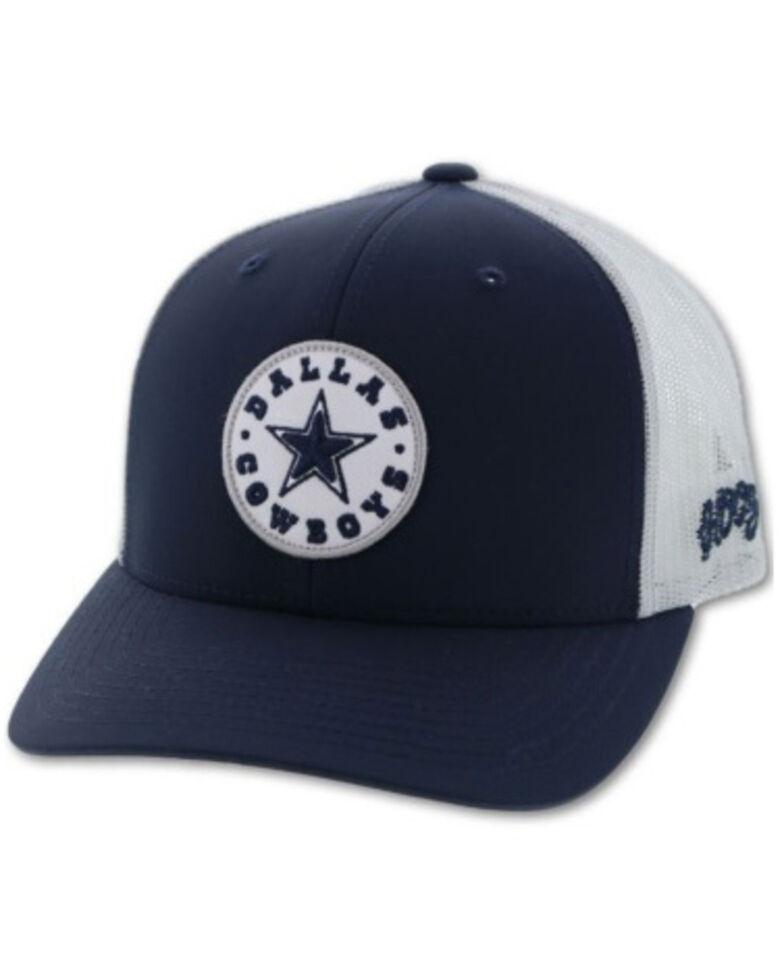 HOOey Men's Dallas Soft Mesh Circle Patch Cap, Navy, hi-res