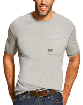 Ariat Men's Rebar Short Sleeve Shirt, Heather Grey, hi-res