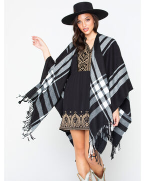 Shyanne Women's Black & White Plaid Poncho, Black/white, hi-res