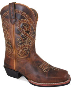 "Smoky Mountain Women's Brown Shelby Stitched 9"" Boots - Square Toe , Brown, hi-res"