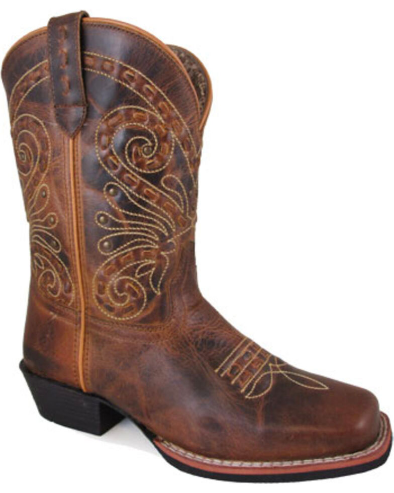 """Smoky Mountain Women's Brown Shelby Stitched 9"""" Boots - Square Toe , Brown, hi-res"""
