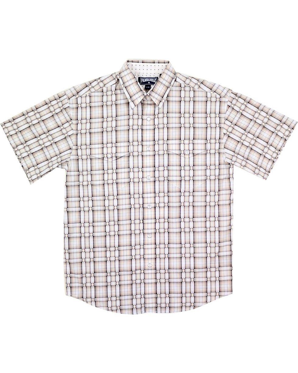 Panhandle Boys' Weave Patterned Short Sleeve Shirt, Natural, hi-res