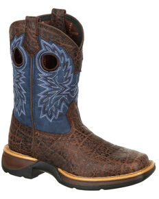 Durango Boys' Lil' Rebel Faux Elephant Western Boots - Square Toe, Brown, hi-res
