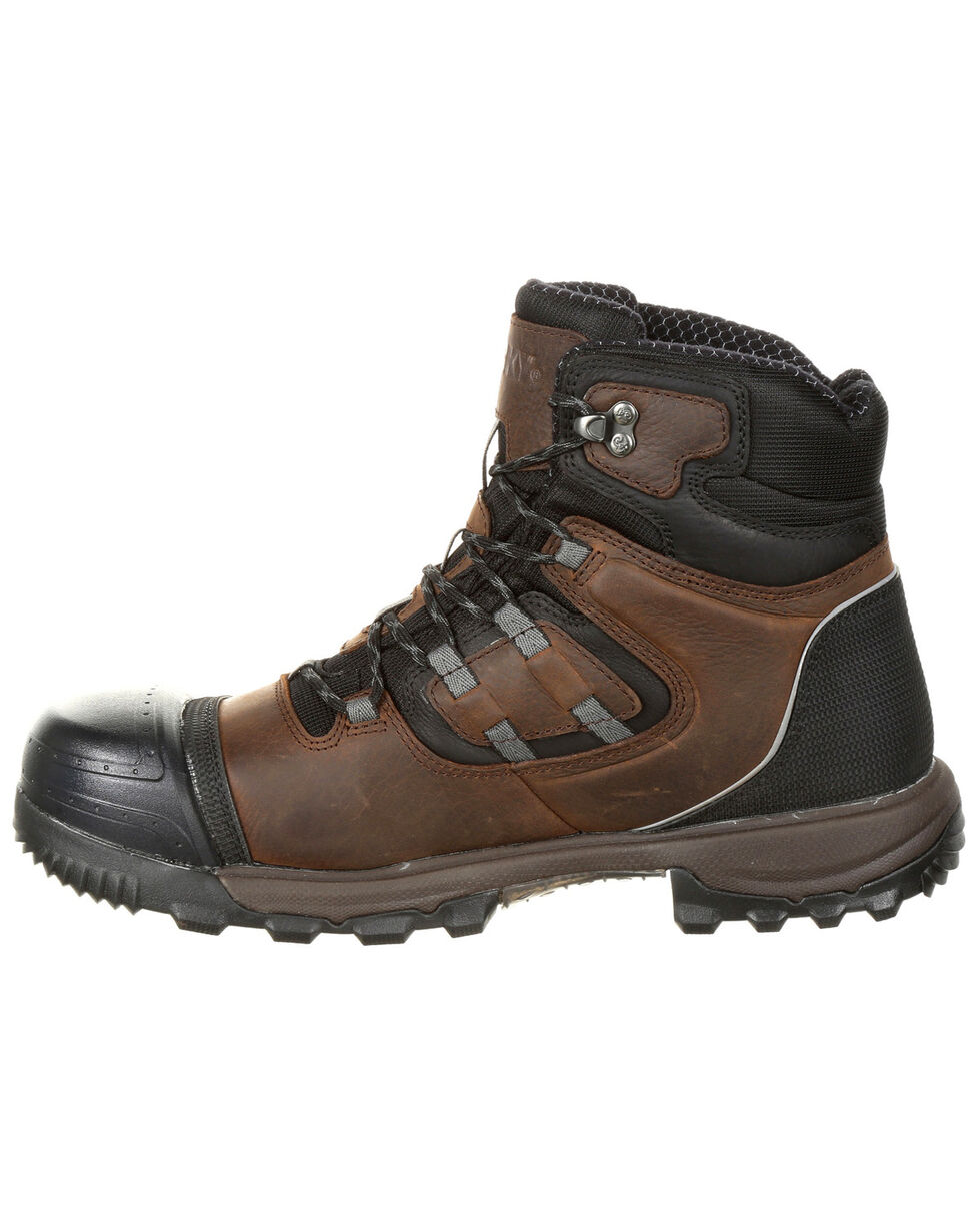 "Rocky Men's XO-Toe Waterproof 5"" Work Boots - Safety Toe, Brown, hi-res"