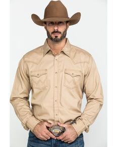 Wrangler Retro Men's Tan Solid Long Sleeve Western Shirt - Tall , Tan, hi-res